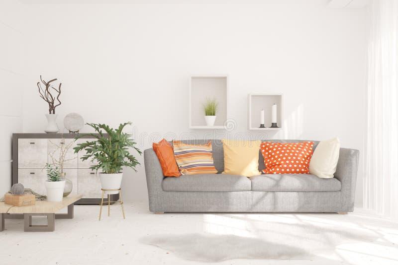 Stanza alla moda nel colore bianco con il sofà Interior design scandinavo illustrazione 3D fotografia stock