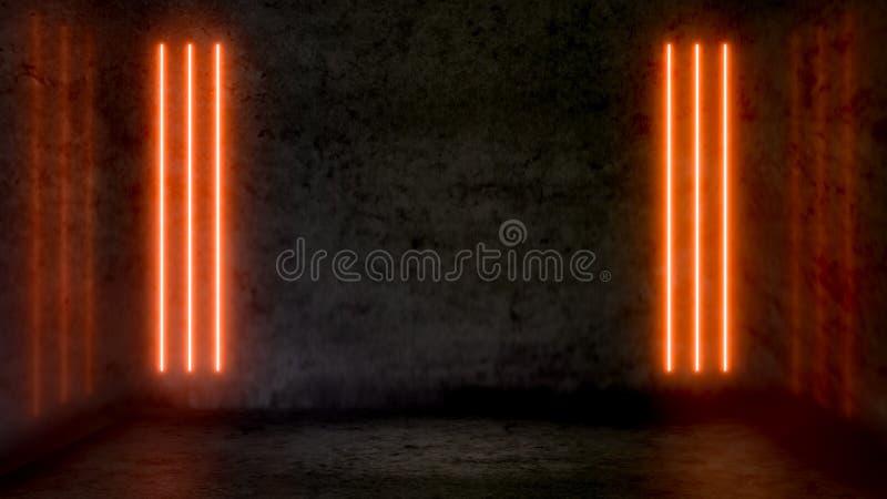Stanza astratta scura vuota con le luci al neon fluorescenti arancio illustrazione vettoriale