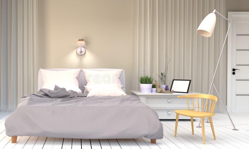 Stanza bianca del letto - stanza moderna con le piante di legno della struttura della lampada della sedia e porta, pavimento di l illustrazione vettoriale