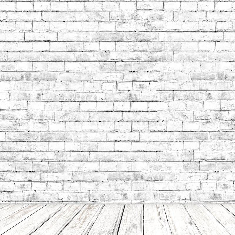 Stanza bianca del muro di mattoni con il fondo di legno del pavimento fotografia stock libera da diritti