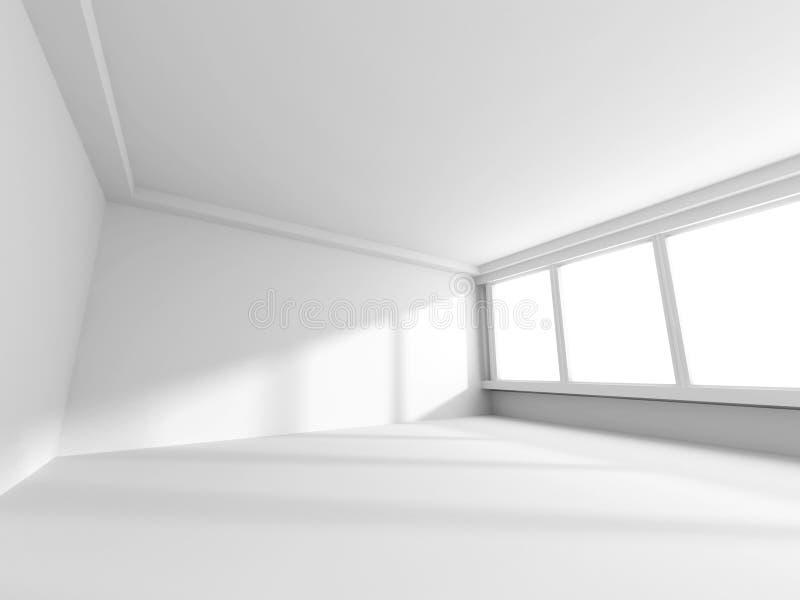 Stanza bianca vuota con le finestre Stile di Minimalistic illustrazione di stock