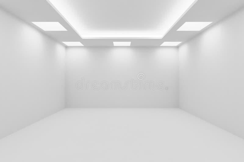 stanza bianca vuota con le plafoniere quadrate royalty illustrazione gratis