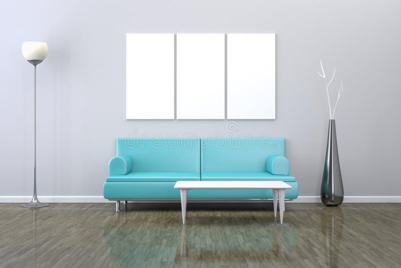 Stanza blu con un sofà royalty illustrazione gratis