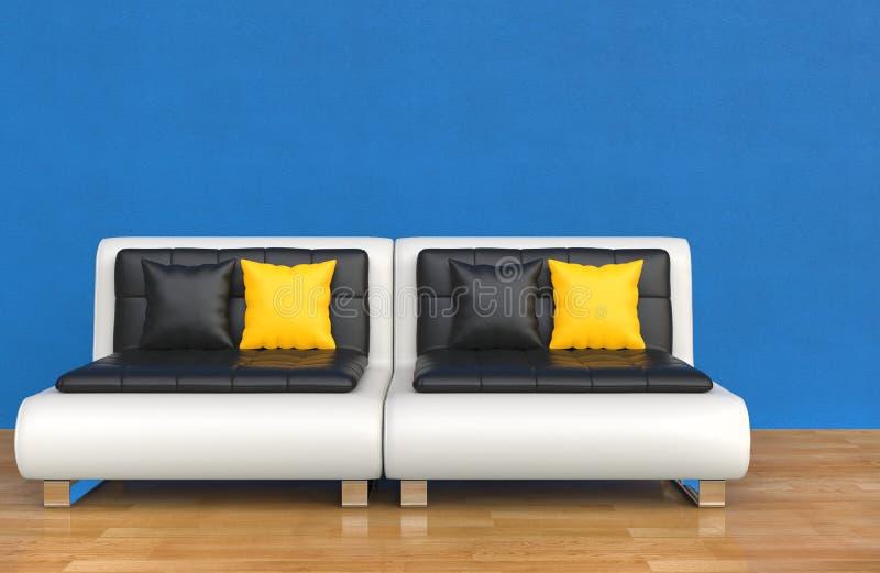 Stanza blu del salotto - cuscini gialli royalty illustrazione gratis
