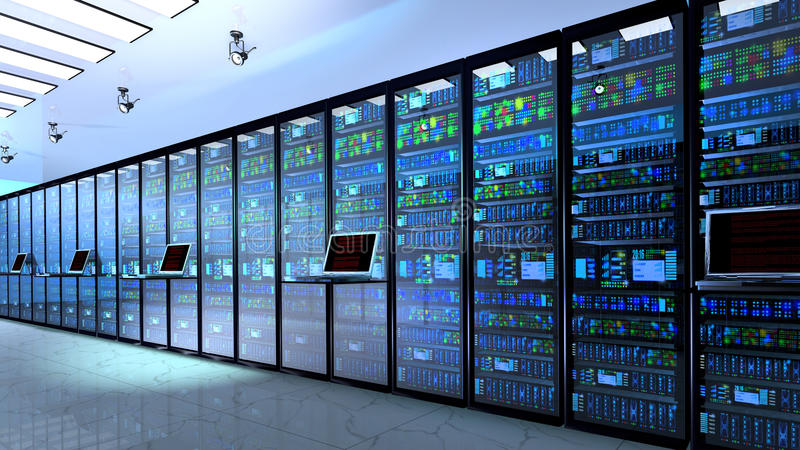 Stanza in centro dati, stanza del server fornita di server di dati fotografia stock libera da diritti