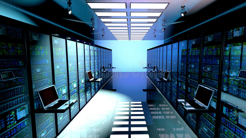 Stanza in centro dati, stanza del server fornita di server di dati fotografie stock libere da diritti