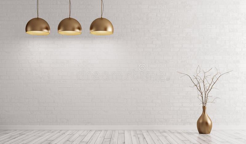 Stanza con le lampade d'ottone del metallo sopra la rappresentazione bianca del muro di mattoni 3d royalty illustrazione gratis