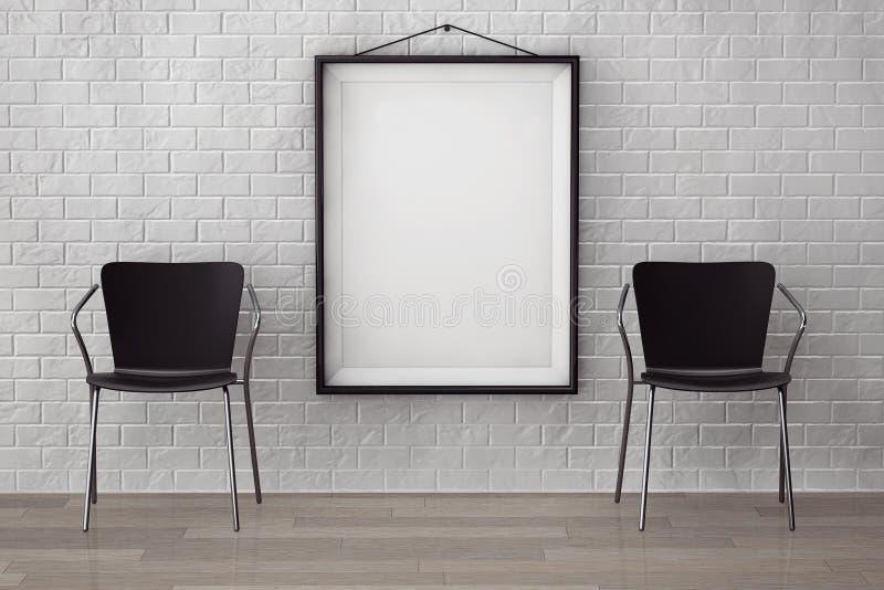 Stanza con le sedie moderne e l'immagine in bianco fotografia stock libera da diritti
