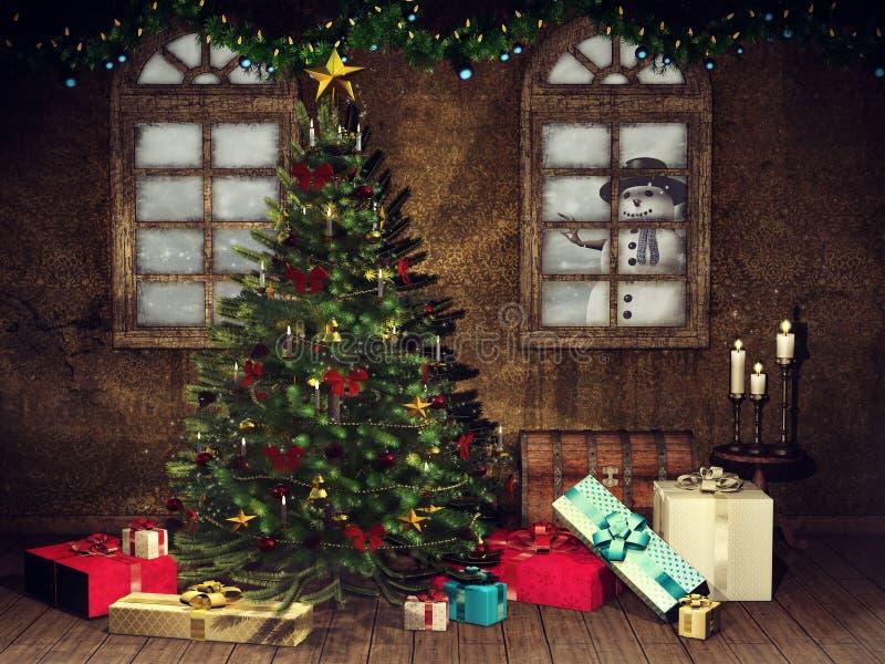 Stanza con un albero di Natale ed i presente illustrazione vettoriale