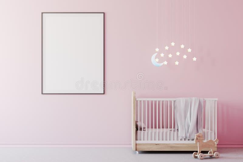 Stanza, culla e manifesto della neonata s royalty illustrazione gratis