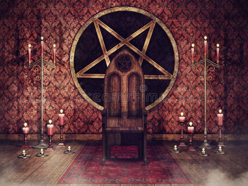 Stanza d'annata del trono con le candele illustrazione di stock