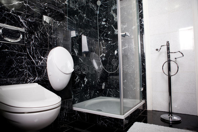 Stanza da bagno in bianco e nero fotografia stock immagine di lavata toletta 16390410 - Bagno bianco nero ...