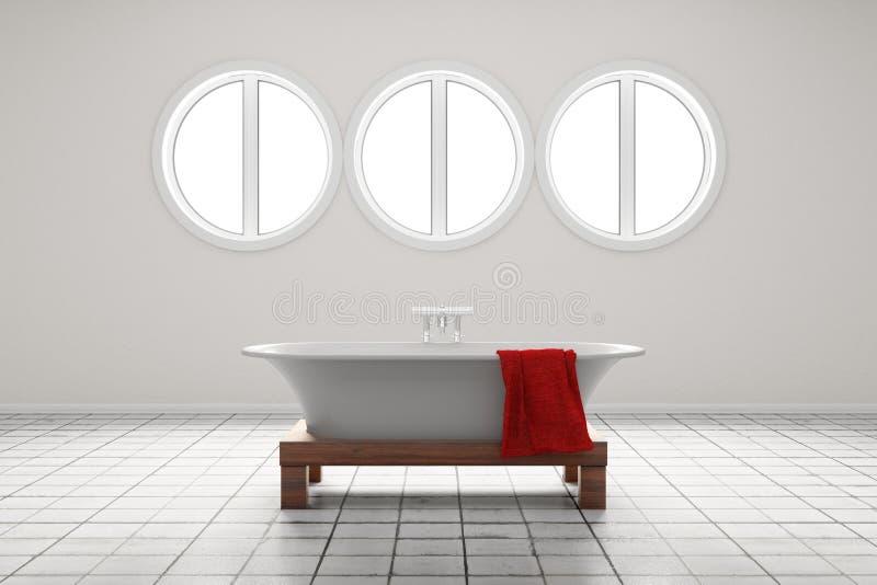Stanza da bagno con le finestre a forma di del cerchio illustrazione vettoriale