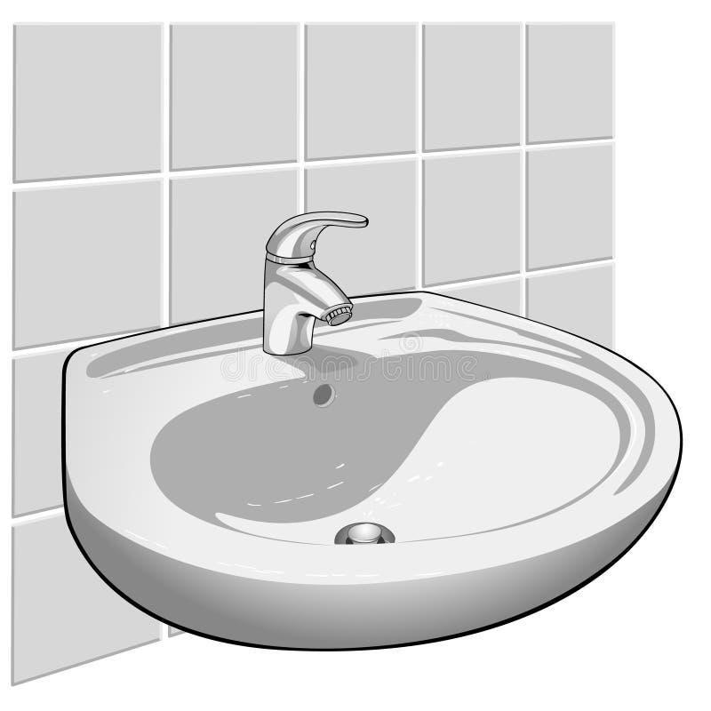 Stanza da bagno del rubinetto illustrazione di stock