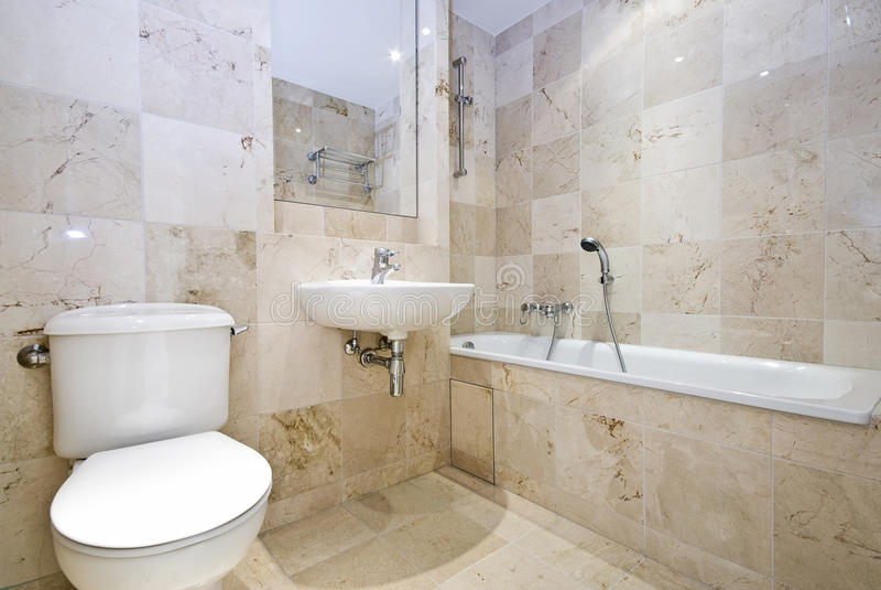 Stanza da bagno di marmo lussuosa fotografia stock