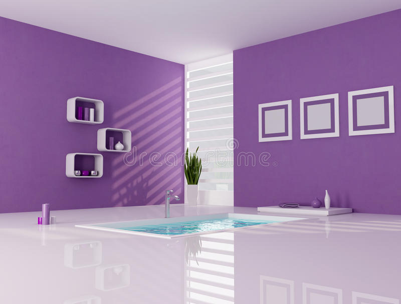 Stanza da bagno minimalista viola e bianca illustrazione di stock