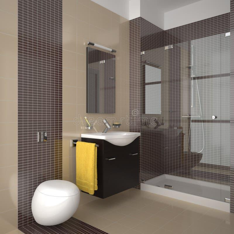 Stanza da bagno moderna con le mattonelle beige e marroni illustrazione vettoriale