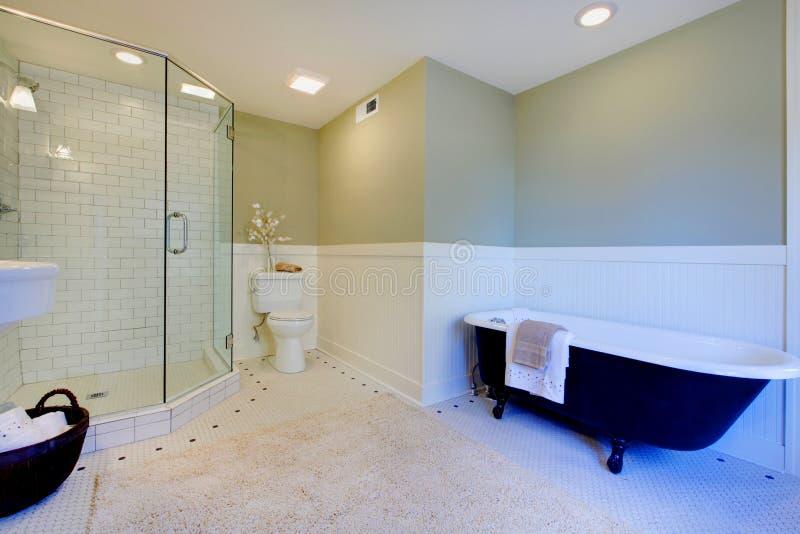 Stanza da bagno moderna verde e bianca fresca di lusso fotografie stock libere da diritti