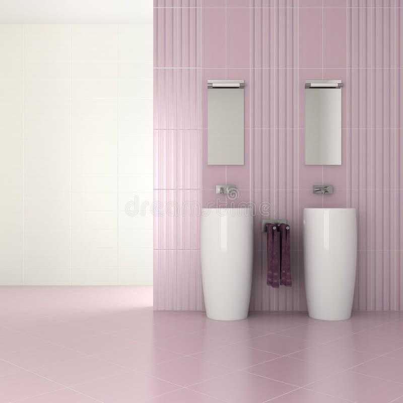 Stanza da bagno moderna viola con il doppio bacino illustrazione vettoriale