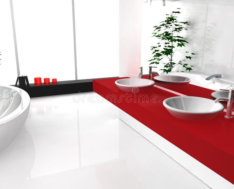 Stanza da bagno rossa lussuosa illustrazione vettoriale
