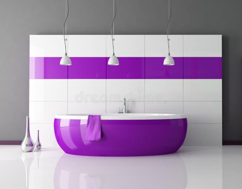 Stanza da bagno viola illustrazione vettoriale