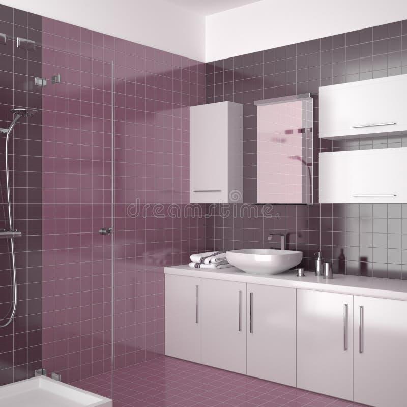 Stanza da bagno viola moderna con mobilia bianca illustrazione vettoriale