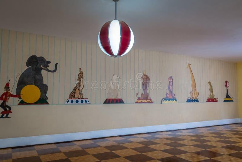 Stanza dei bambini hotel del casinò del palazzo di Quitandinha al precedente - Petropolis, Rio de Janeiro, Brasile immagine stock libera da diritti