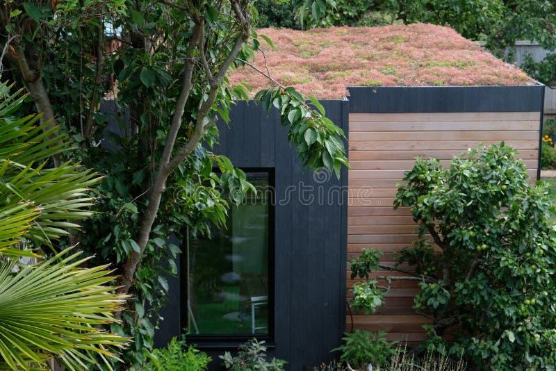 Stanza del giardino, ritirata verde con l'ape amichevole, tetto vivente di sedum in giardino ben rifornito e maturo fotografia stock libera da diritti