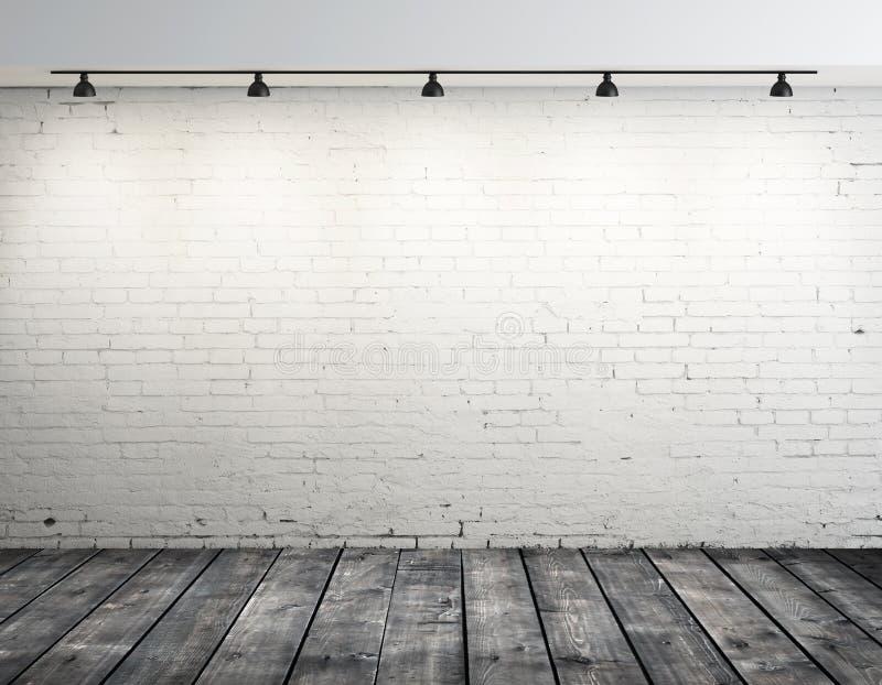 Stanza del mattone con la lampada del soffitto immagini stock