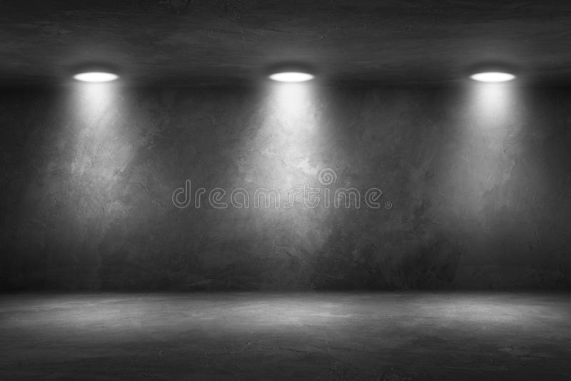 Stanza del muro di cemento con l'interno vuoto del garage del pavimento immagini stock