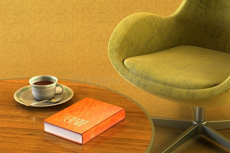Stanza del salotto con la tabella e la busbana francese illustrazione vettoriale