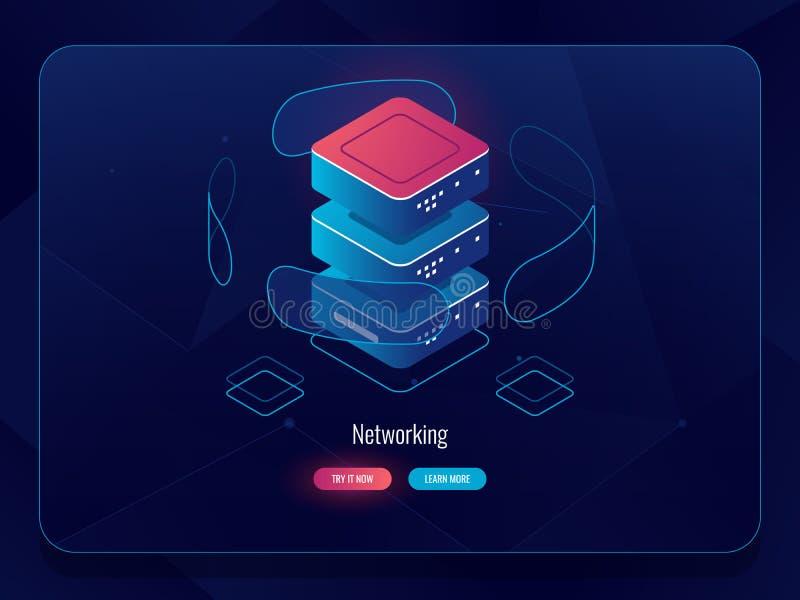 Stanza del server, base di dati del centro dati, concetto moderno di tecnologia digitale, icona isometrica, ologramma virtuale de illustrazione di stock