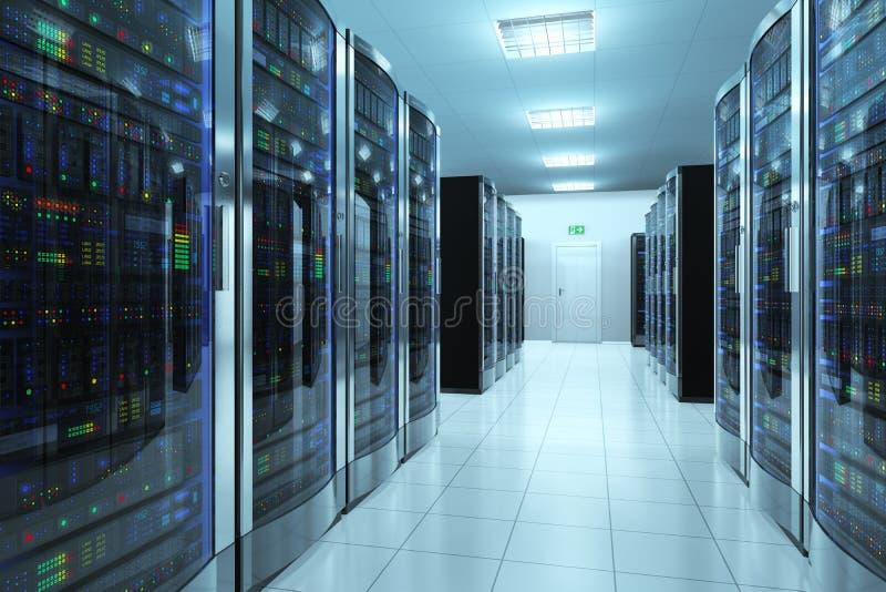 Stanza del server in centro dati illustrazione di stock