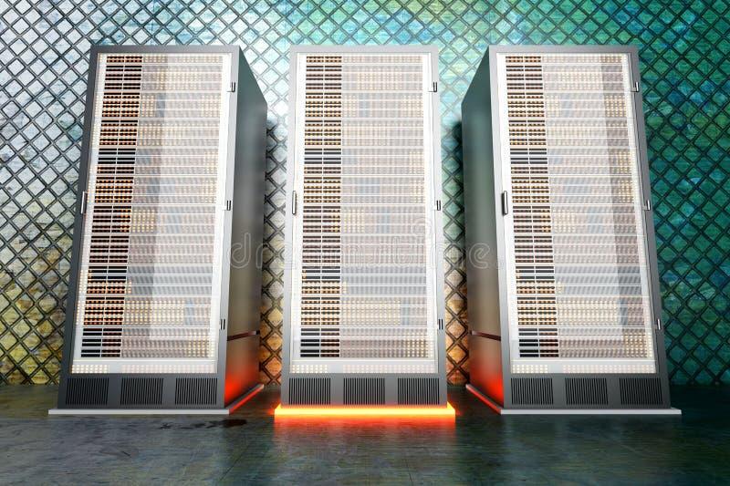 Stanza del server del metallo illustrazione di stock