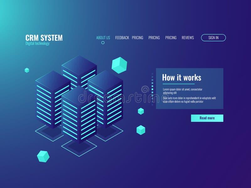 Stanza del server, icona di stoccaggio della nuvola, centro d'informazione, servizi host, centro dati e base di dati royalty illustrazione gratis