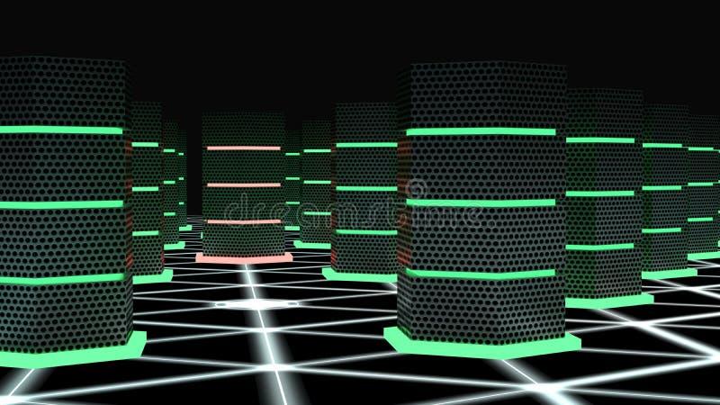 Stanza del supercomputer con un concetto inciso di cybersecurity di nodo royalty illustrazione gratis