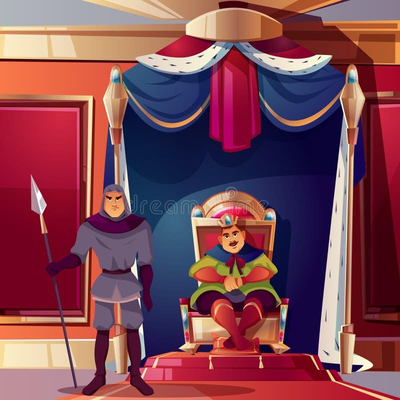 Stanza del trono di vettore, sala da ballo con re, guardia illustrazione vettoriale