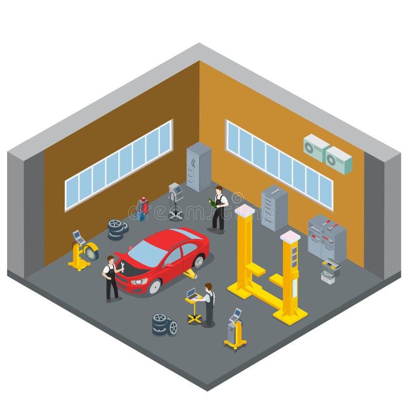 Stanza dell'interno interna di servizio del veicolo di riparazione dell'automobile S illustrazione di stock