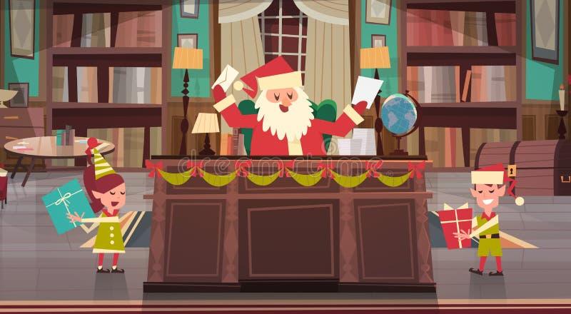 Stanza dell'ufficio di Santa Claus Working With Elfs In che ottiene il Buon Natale e regali del buon anno e presente, inverno illustrazione vettoriale