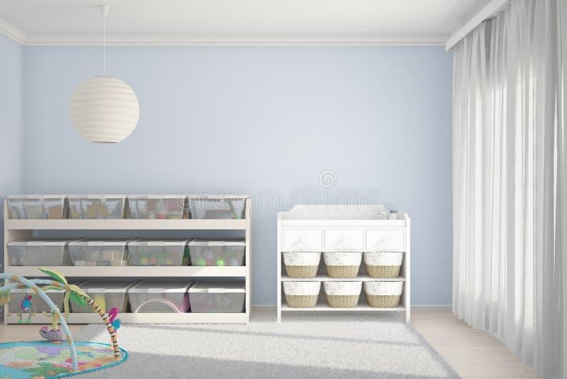 Stanza di bambini con i giocattoli blu illustrazione vettoriale