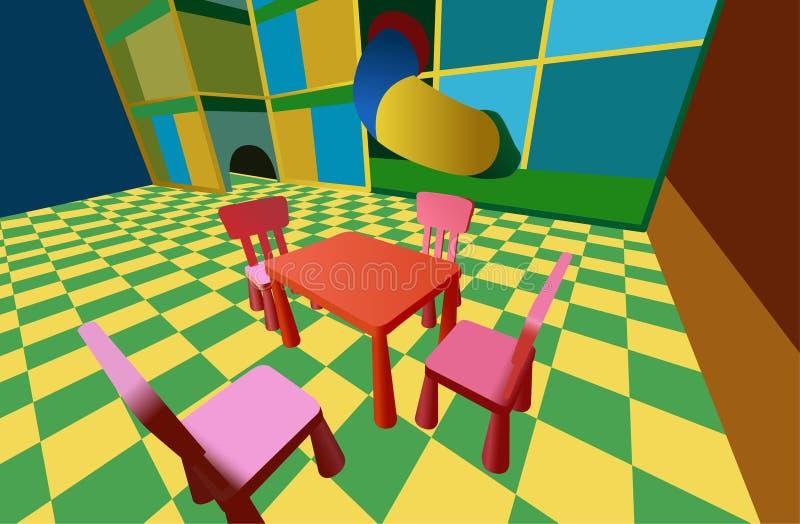 Stanza di bambino con il labirinto e tabella con le presidenze royalty illustrazione gratis