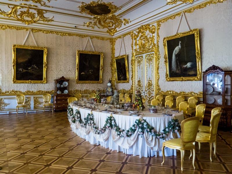 Stanza di banchetto reale in Catherine Palace a Pushkin fotografie stock