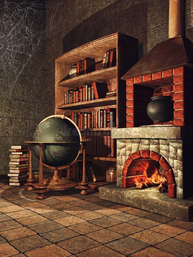 Stanza di fantasia con i libri e le ragnatele royalty illustrazione gratis
