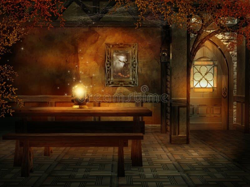 Stanza di fantasia con un cristallo magico illustrazione vettoriale