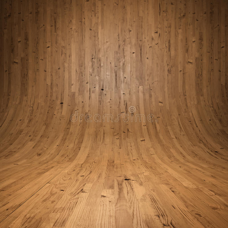 Stanza di legno delle plance con il pavimento e le pareti di legno illustrazione di stock