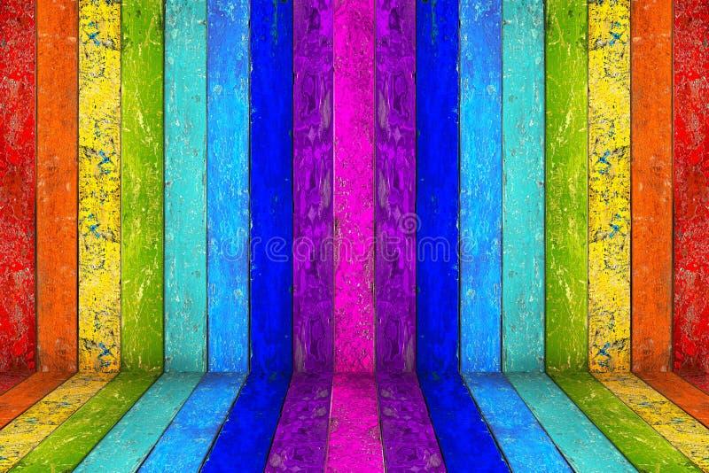 Stanza di legno vuota dell'arcobaleno variopinto fotografia stock