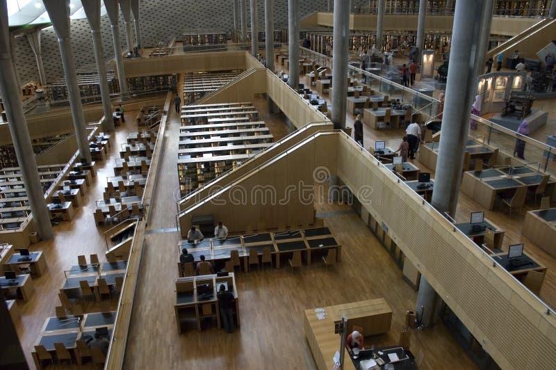 Stanza di lettura della libreria di Alessandria, Egitto, corsa fotografia stock libera da diritti