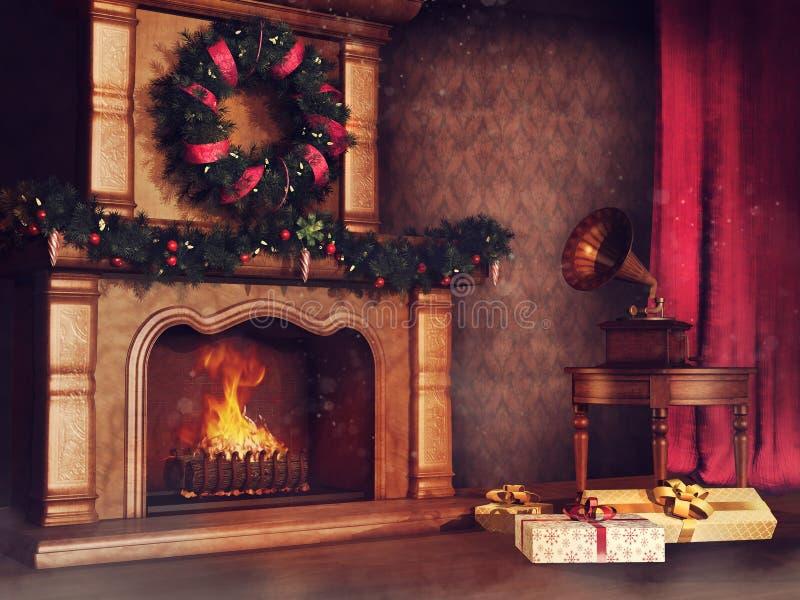Stanza di Natale con un camino illustrazione vettoriale
