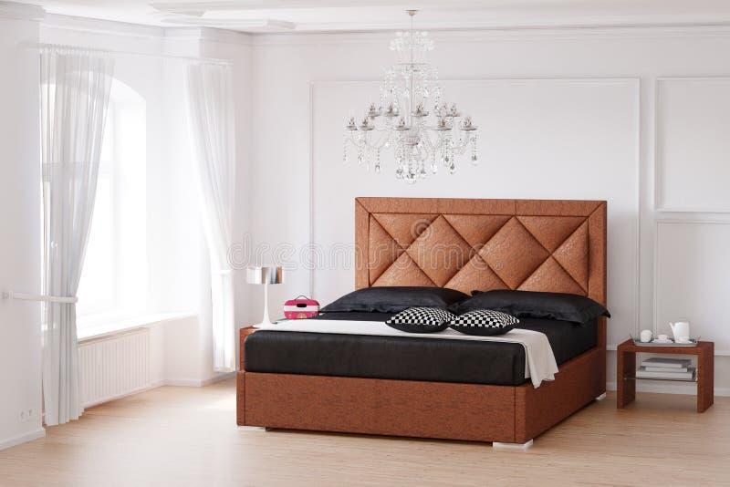 Stanza di sonno con il letto marrone royalty illustrazione gratis