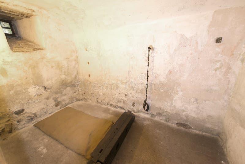 Stanza di tortura al castello di Oberhofen, Svizzera fotografia stock libera da diritti